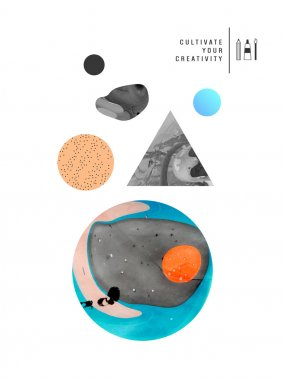 Abstract painted  shapes template set