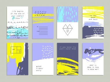 Creative trendy cards. Abstract painting templates with hipster shapes, signs, symbols clip art vector