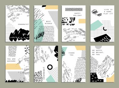 Hand drawn collection of artistic invitations with trendy colors, shapes and textures. Wedding, marriage, bridal, birthday, Valentine's day. Isolated stock vector