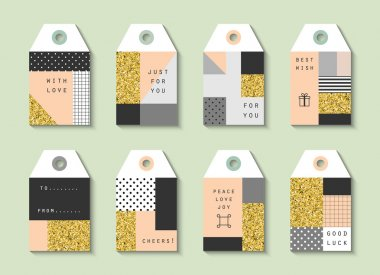 Tags with gold glitter texture.