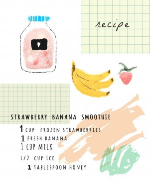 banana, blueberry smoothie card.