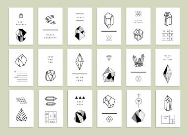 creative cards with polygon crystals