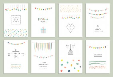 set of party cards, invitations