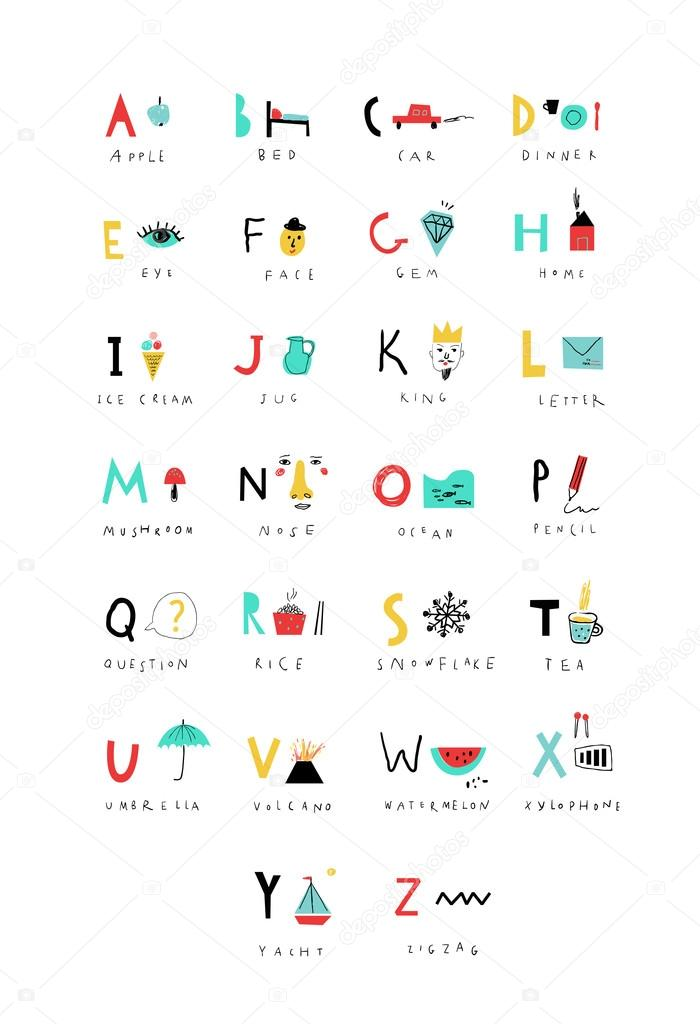 Cute alphabet letters and words stock vector leepoo 80145588 cute alphabet letters and words learn to read isolated vector by leepoo altavistaventures Images