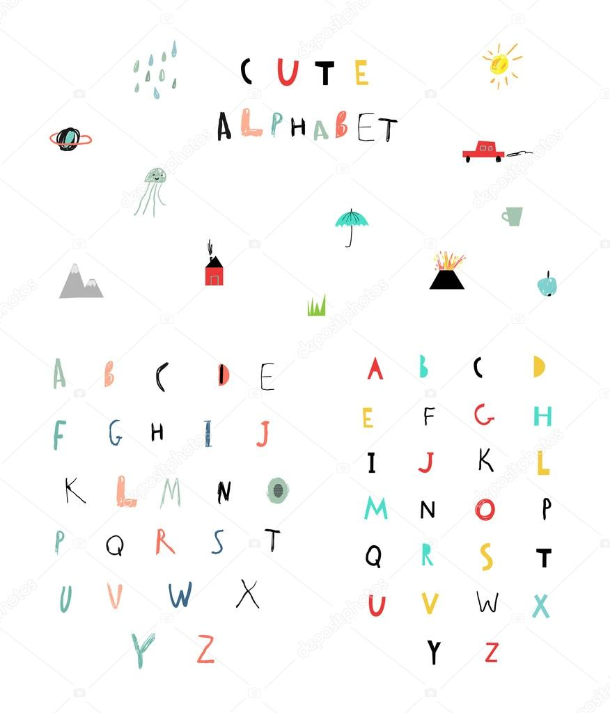 Cute Alphabet Letters And Words Stock Vector C Leepoo 80145628