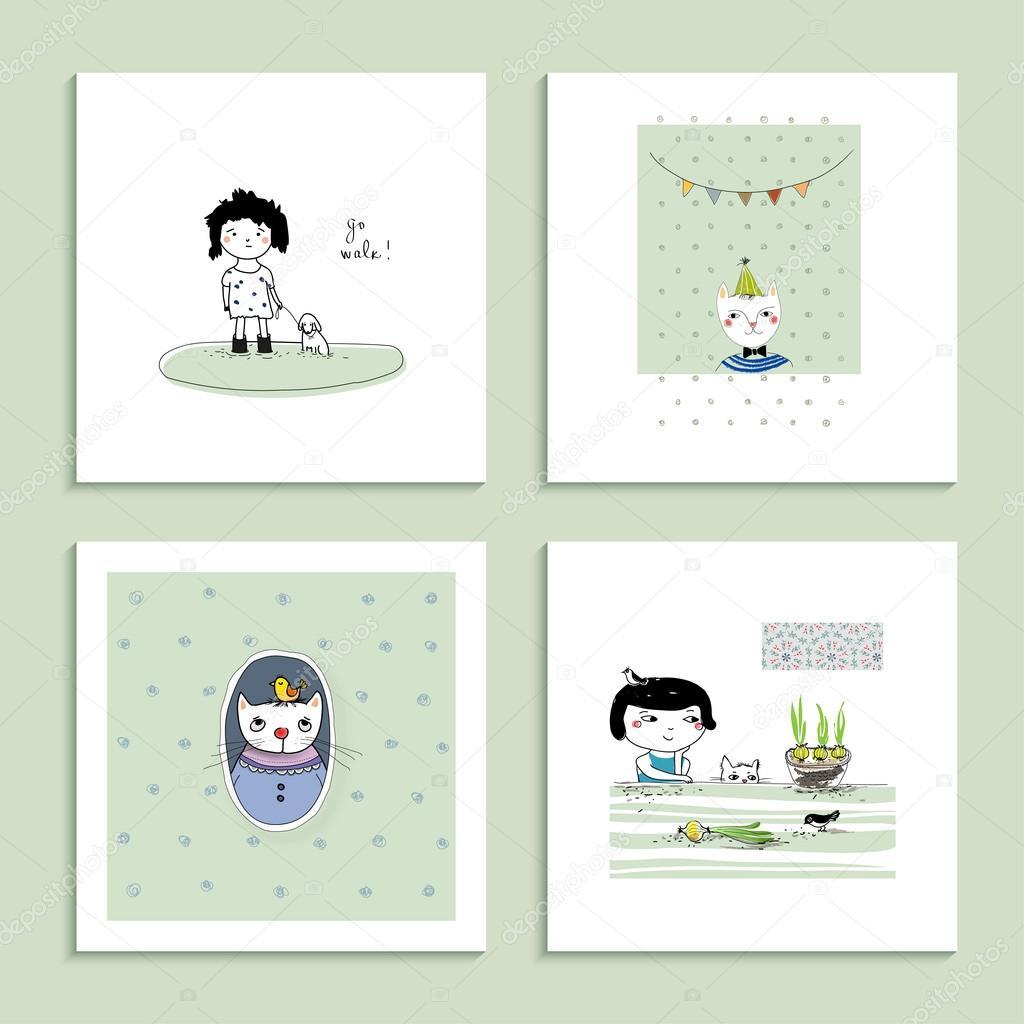 Sammlung von vier Cartoon Karten. 30