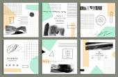 Fotografie Collection of trendy cards with geometric shapes, hand made textures