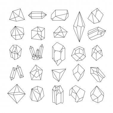 Set of crystals. Geometric shapes. Trendy hipster retro background