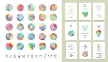 Set of colored crystal circles in polygon style with geometric shapes