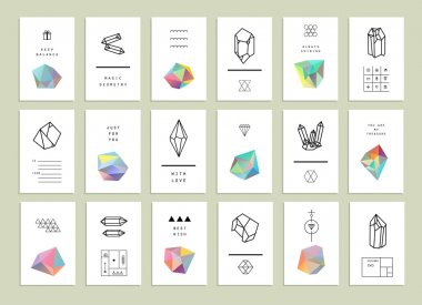 Collection of creative cards. Set of crystals in polygon style