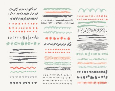 Hand drawn vector line borders and dividers collection