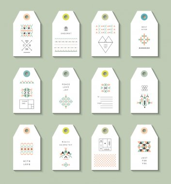 Collection of 12 Hang Tags with ethnic and aztec patterns