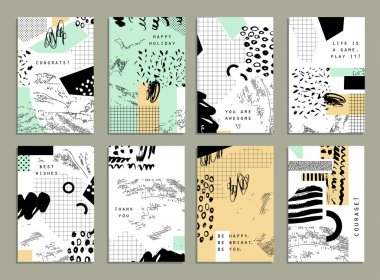 Collection of trendy cards with geometric shapes, hand made textures