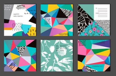 Set of 6 creative universal cards. Hand Drawn textures.