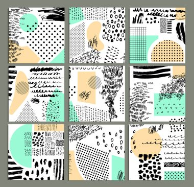 Hand drawn collection of artistic cards and  invitations with trendy colors, shapes and textures. Wedding, marriage, bridal, birthday, Valentine's day. Isolated