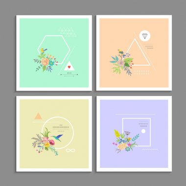 Collection of trendy creative cards.