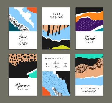 Collection of artistic cards with abstract shapes and hand made textures. Wedding, marriage, bridal, birthday, Valentine's day. Creative unusual posters. Isolated clip art vector