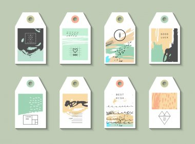 Collection of trendy cards with geometric shapes, hand made textures made by ink