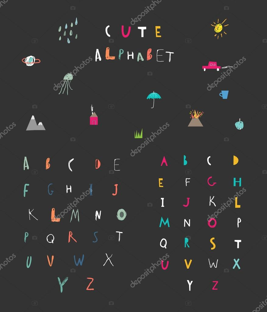 Cute Alphabet Hand Drawn Letters Learn To Read Isolated Stock