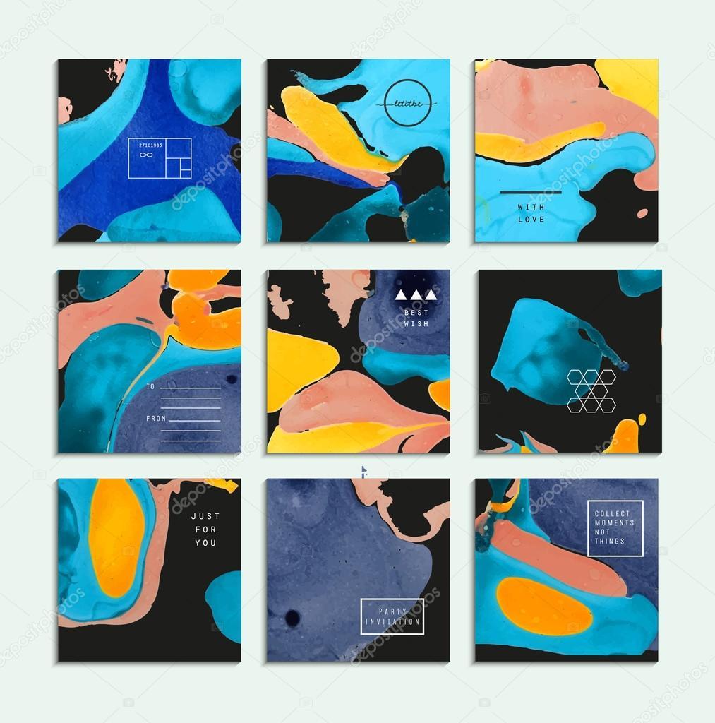 Sammlung von kreativen trendige karten abstrakte malerei vorlagen stockvektor leepoo 88694510 - Vorlagen malerei ...