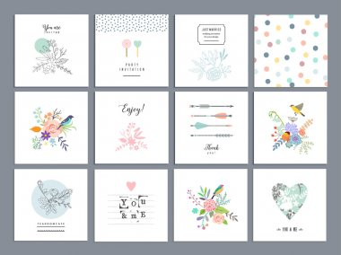 Set of romantic floral cards.