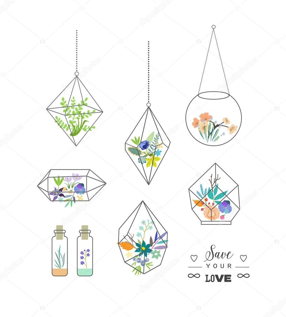 Beautiful terrariums with flowers.