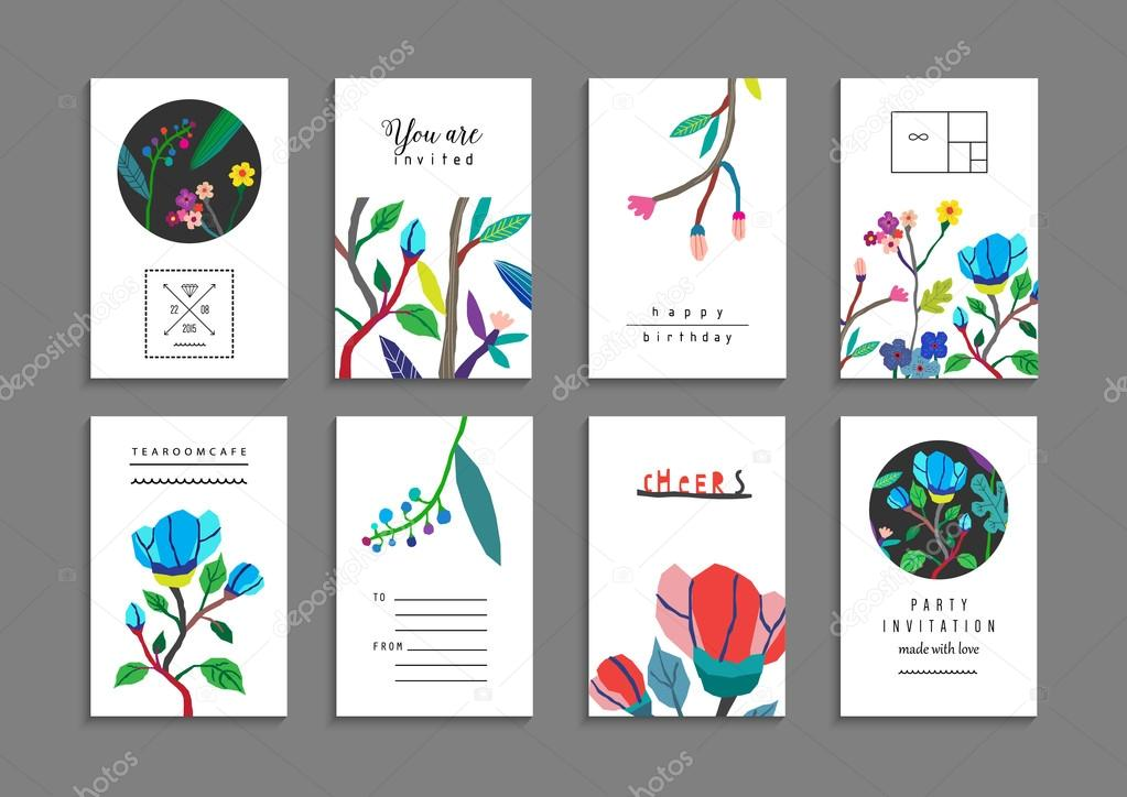Collection of  cards with flowers.