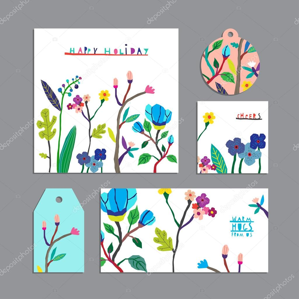 Vector set of floral cards with flowers.