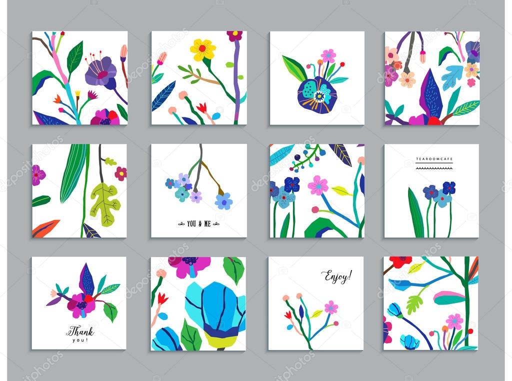 Collection of unusual cards with paper cut flowers.