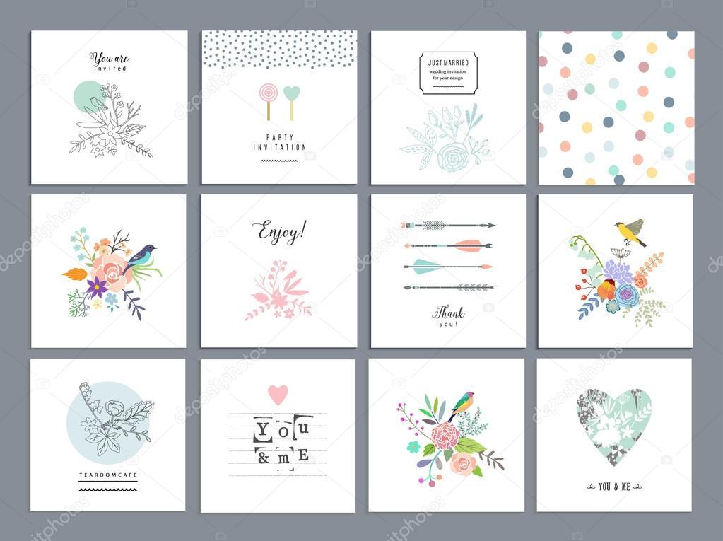 Set of romantic floral cards.
