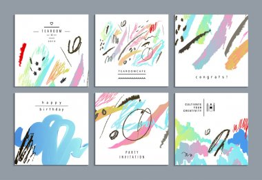 Set of artistic creative universal cards. Hand Drawn textures.