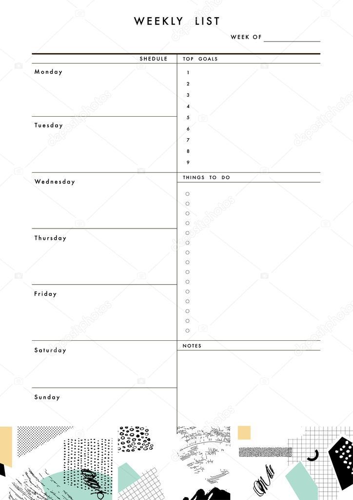 Pro Planner-Vorlage. Veranstalter und Zeitplan — Stockvektor ...