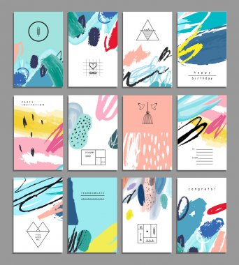 Set of artistic creative universal cards. Hand Drawn textures. Wedding, anniversary, birthday, Valentin's day, party. Design for posters, cards, invitations, placards, brochures, flyers.  Vector. Isolated. stock vector