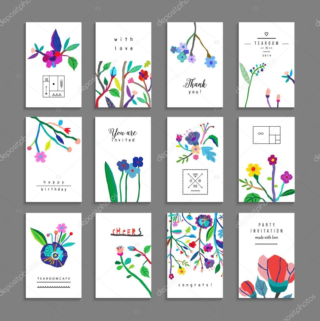 Collection of unusual cards with flowers.