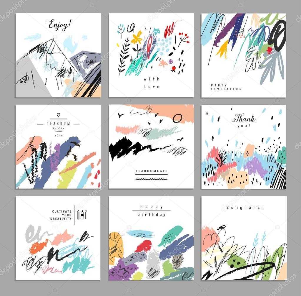 Artistic creative universal cards.