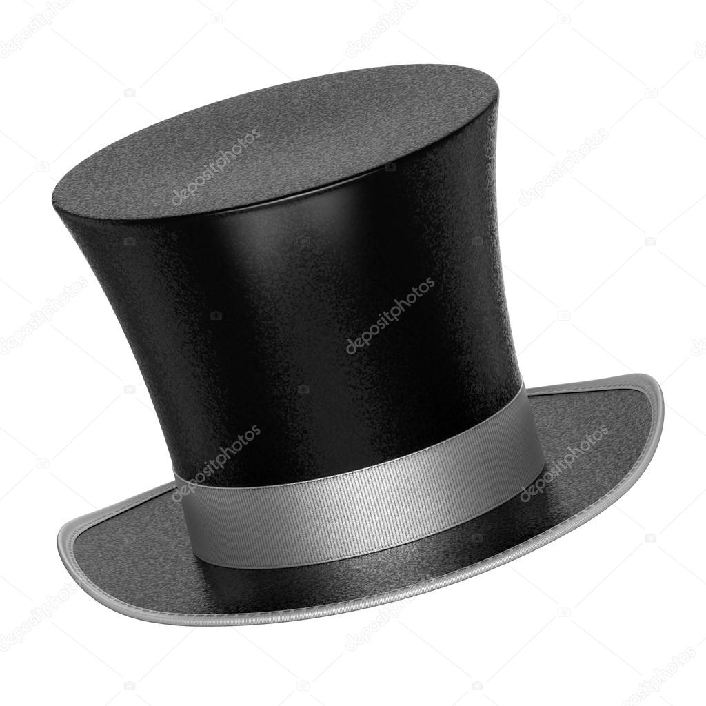 c6b27e7168e 3D rendered black decoration top hat with silver ribbon– stock image