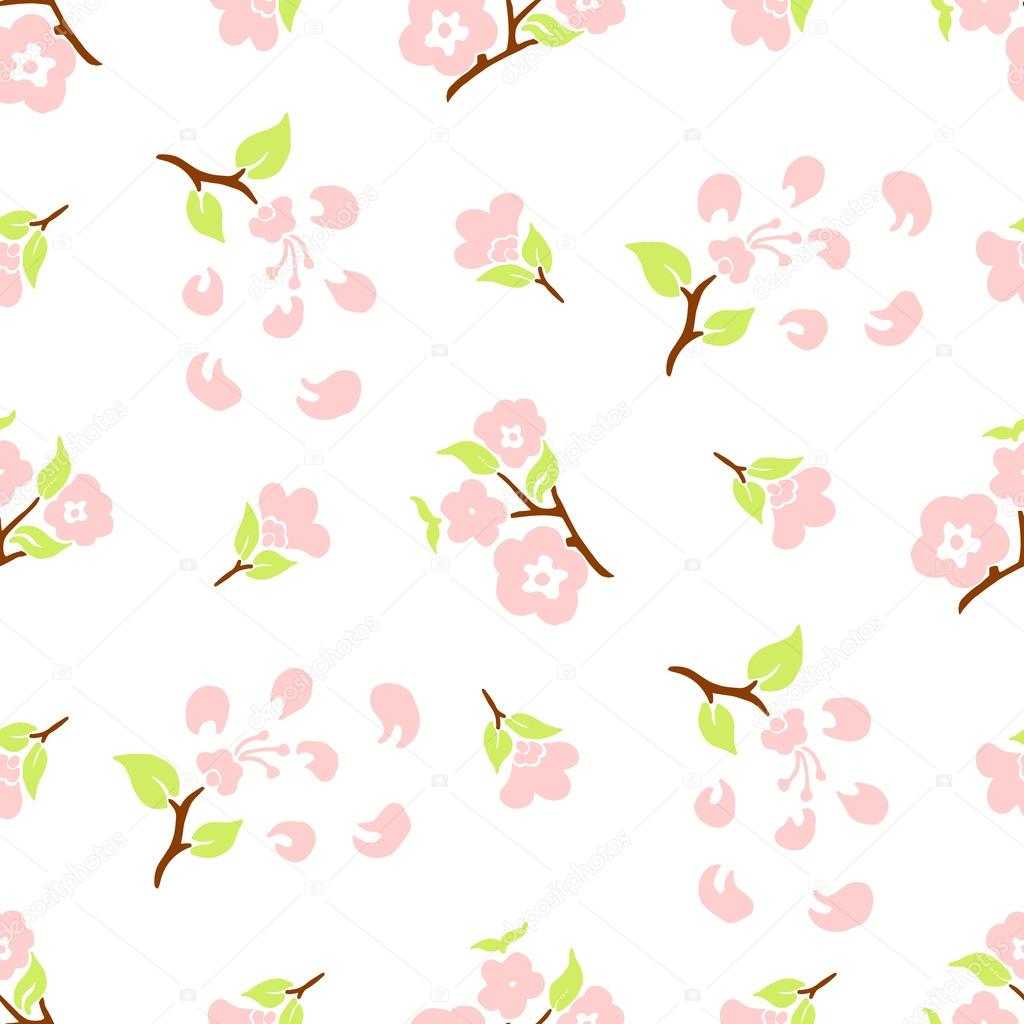 stylized flowers and leaves of cherry