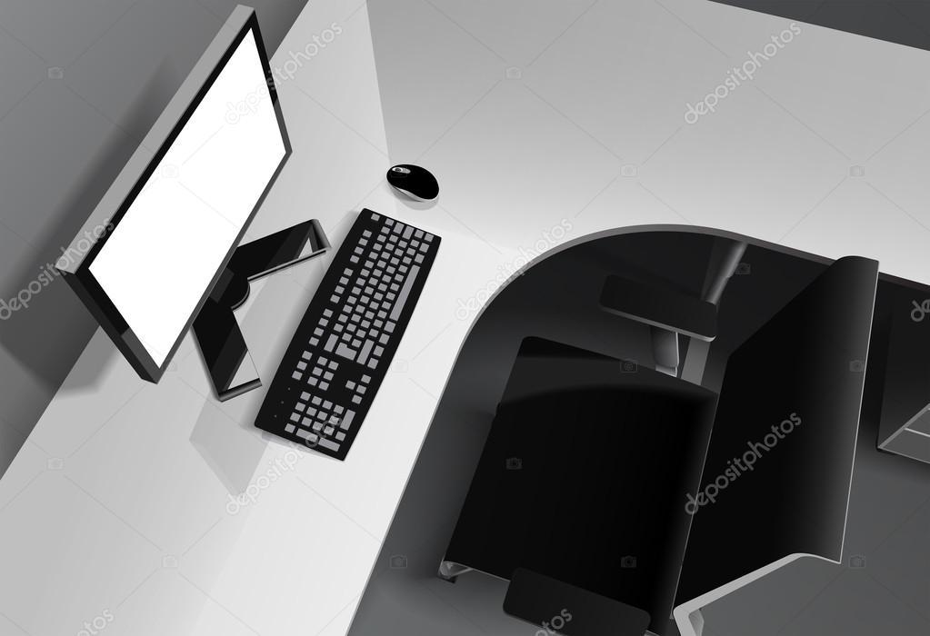 Bureau moderne avec l ordinateur sur le bureau et chaise noir
