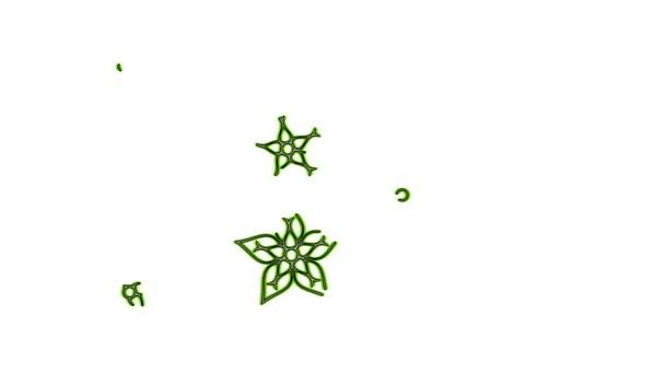 Barevné kovové květiny animace - zelené