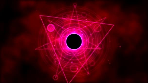 Magický kruh, geometrické pozadí animace - Loop Red