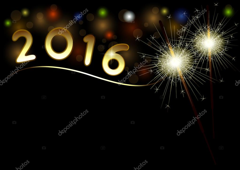 2016 Happy New Year black background with sparklers