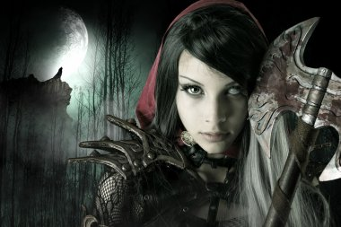 Dark Red Riding hood girl
