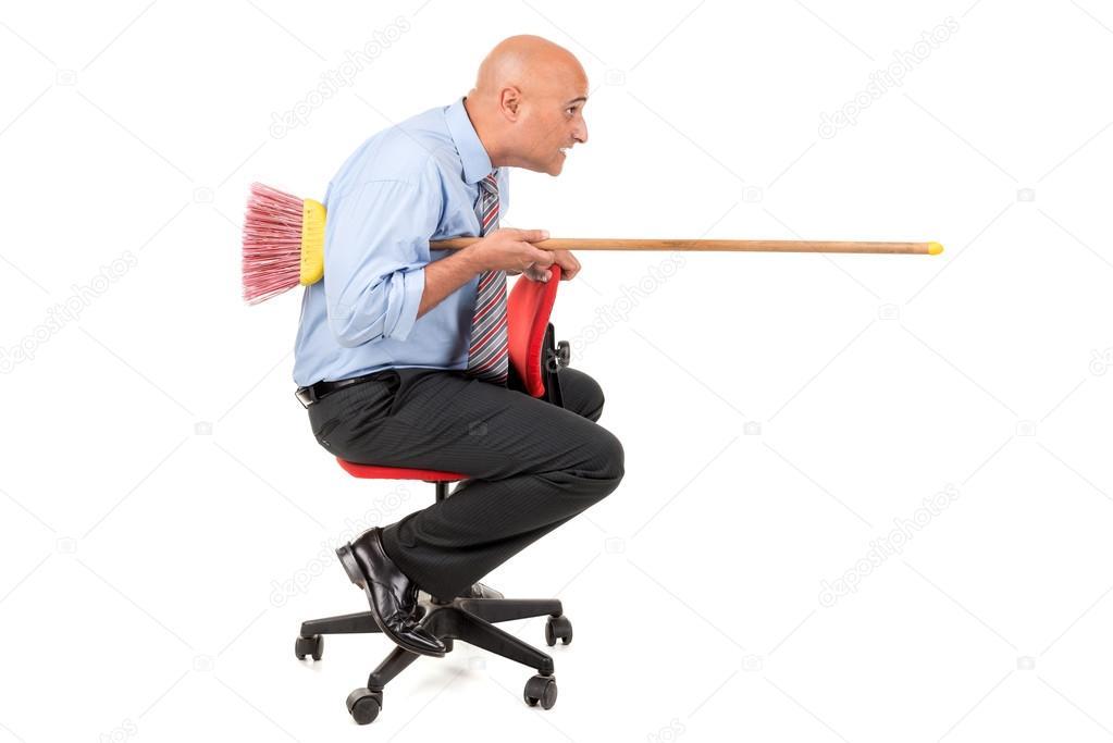 Arbeiter Auf Stuhl Ritterturniere Mit Besen Stockfoto Luislouro