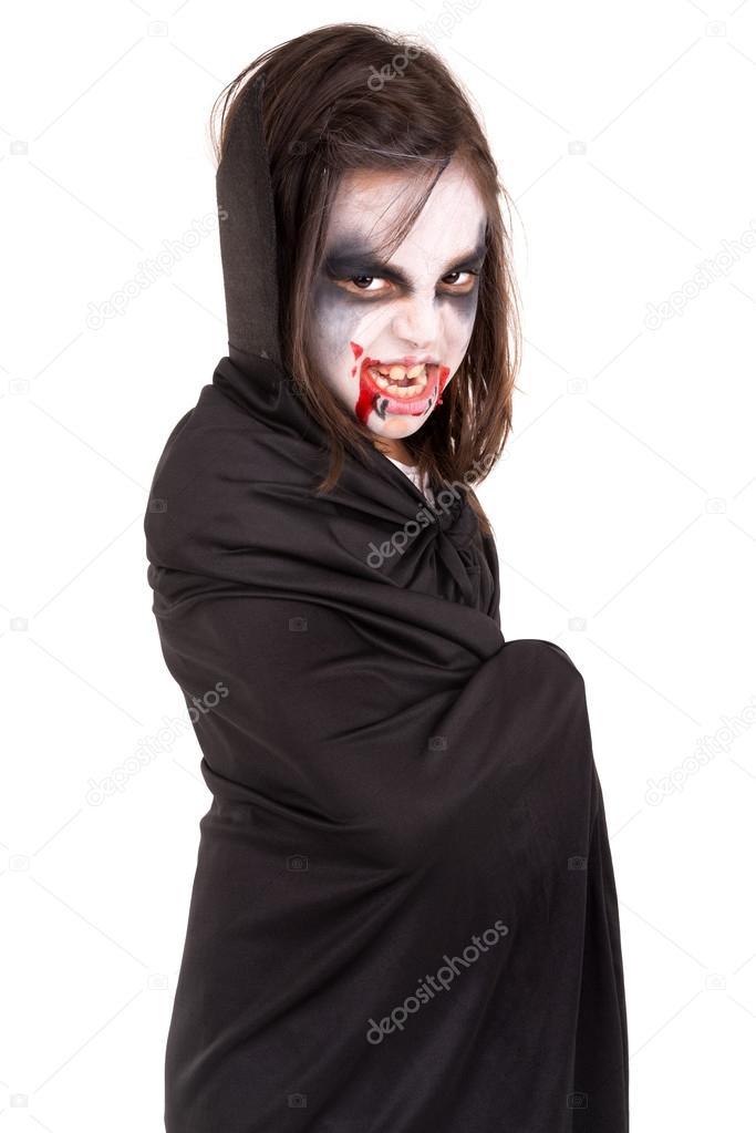 Girl in Halloween vampire costume — Stock Photo © luislouro #65251723