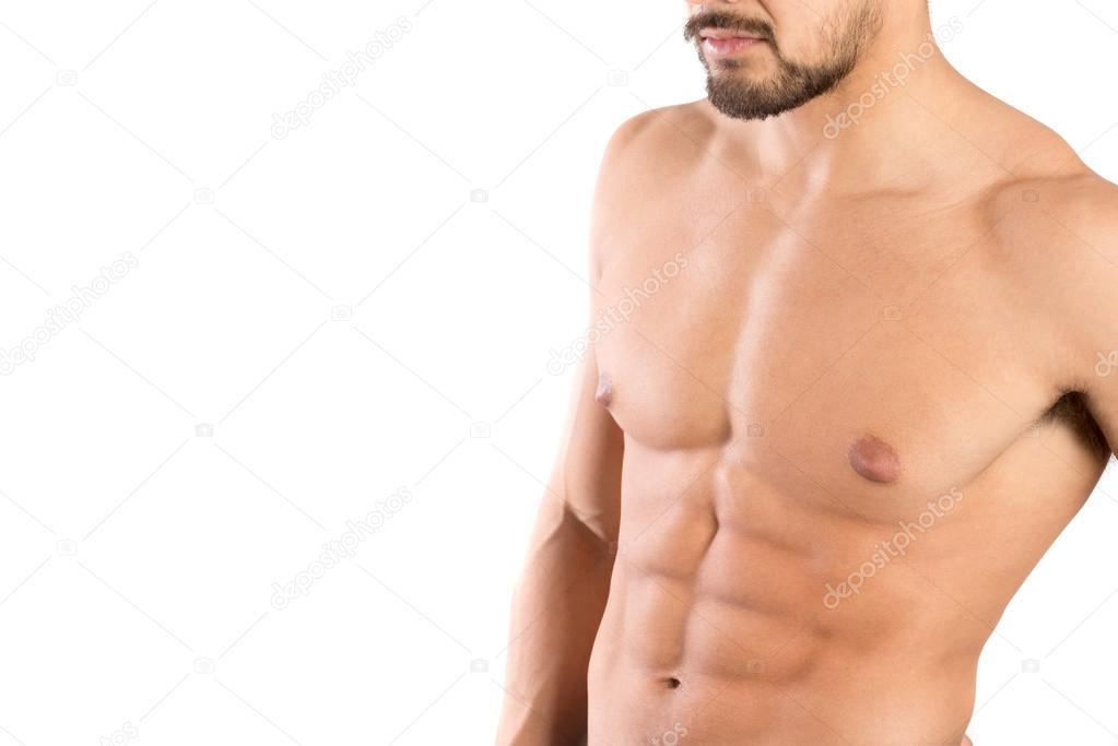 Mannes Oberkörper zeigen große Muskeln — Stockfoto © luislouro #72652157