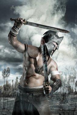strong roman gladiator man