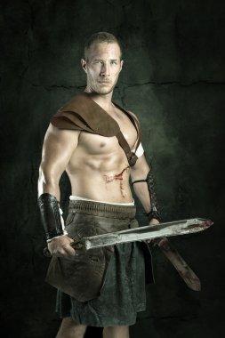 Gladiator posing with swords