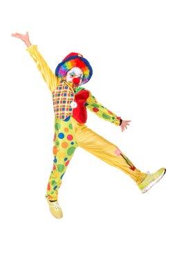 young girl wearing clown costume