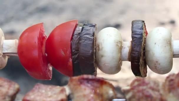 smažené houby a rajčata s lilkem na špejlích nad ohněm v lese, smažená zelenina nad ohněm, zeleninový šašlík