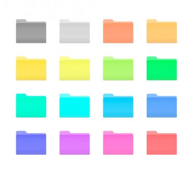 Colorful Bright Folder Icons Set in OS X Yosemite Style. Isolated on white. icon